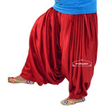 Super Heavy Royal Red Satin Maharani Patiala Salwar