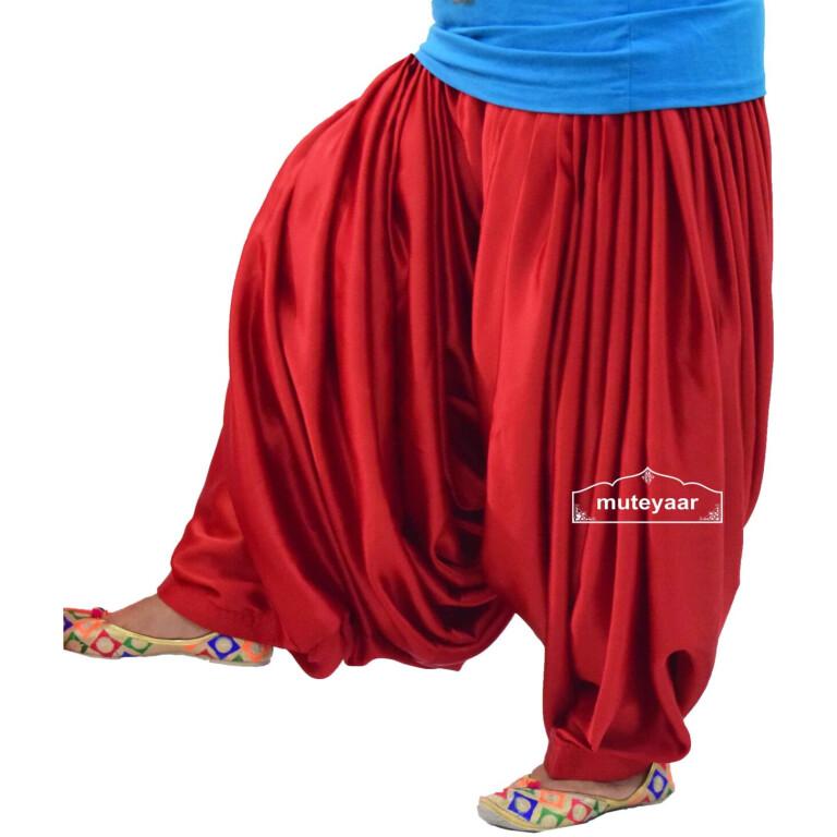 Super Heavy Royal RED Satin Maharani Patiala Salwar