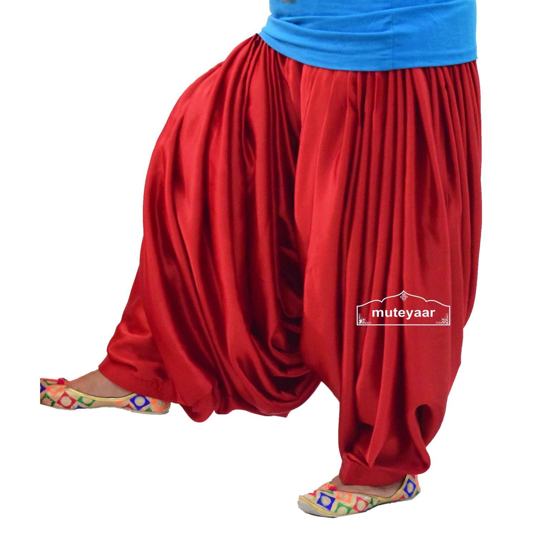 Super Heavy Royal Red Satin Maharani Patiala Salwar 1