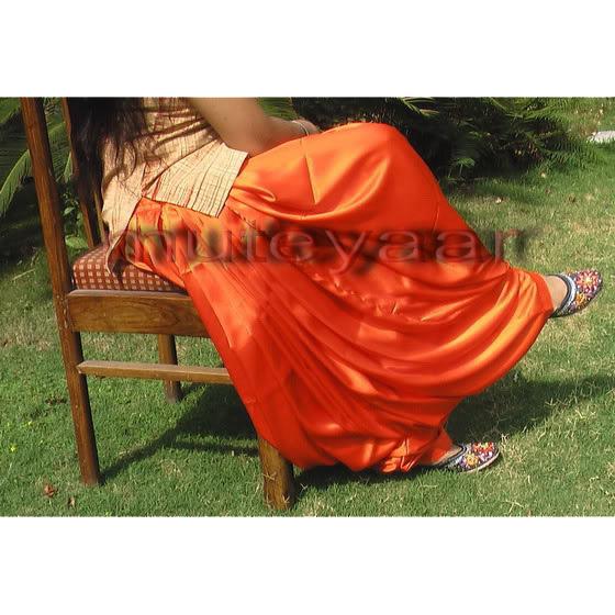 Maharani Orange Satin Silk Patiala Salwar - Custom Stitched 2