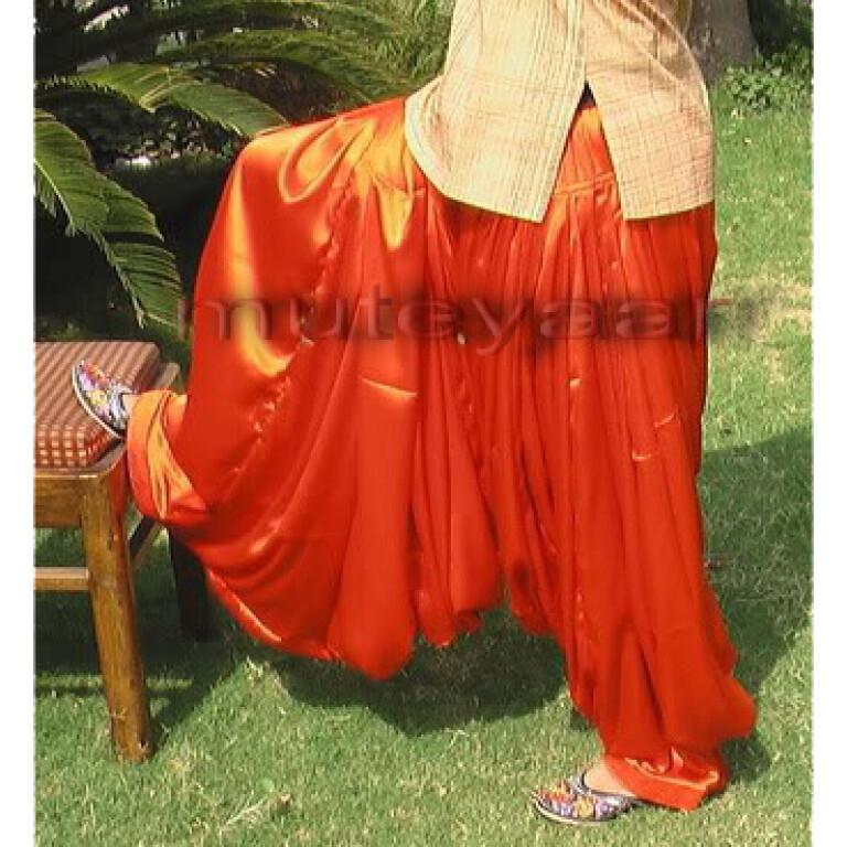 Maharani Orange Satin Silk Patiala Salwar - Custom Stitched