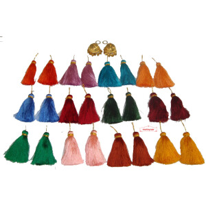 Lotan earrings handicraft jewellery set with 12 pairs of tassle phumans