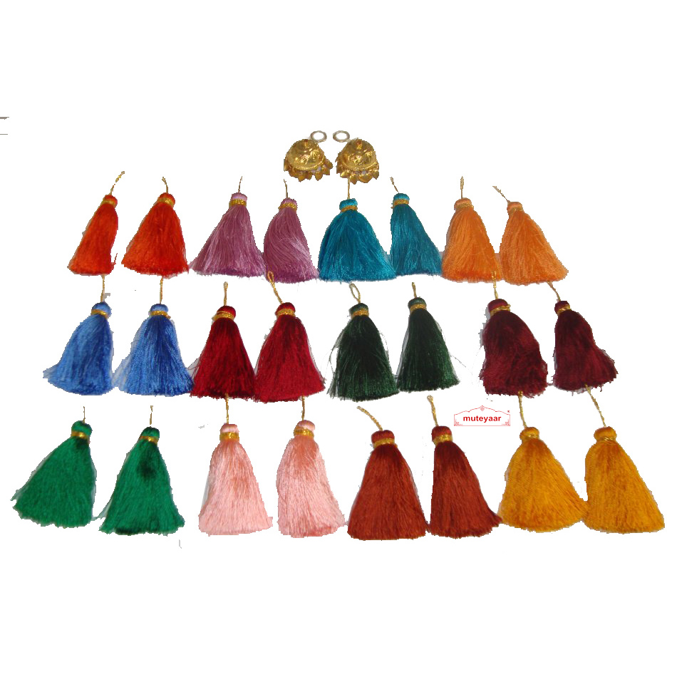 Lotan earrings handicraft jewellery set with 12 pairs of tassle phumans 1