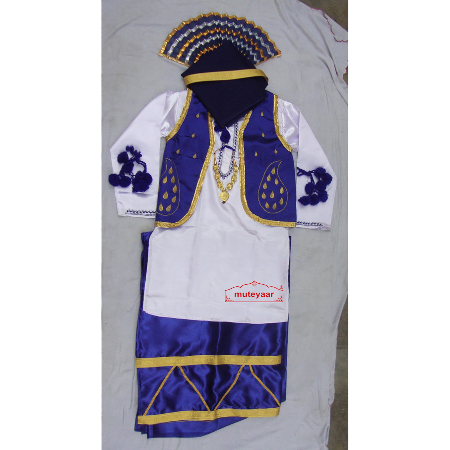 Blue White Bhangra dance Costume / outfit dress 1