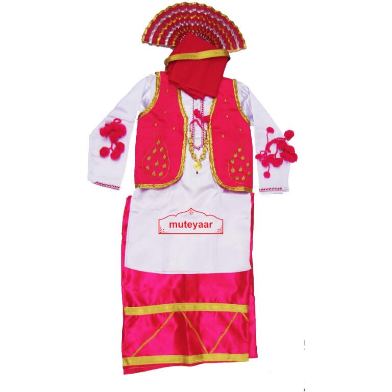 Magenta White Bhangra dance Costume / outfit dress