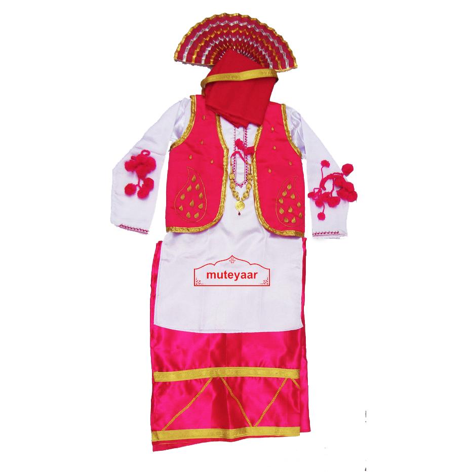 Magenta White Bhangra dance Costume / outfit dress 1