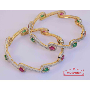 Gold Plated Jadau Bangles Set J0101