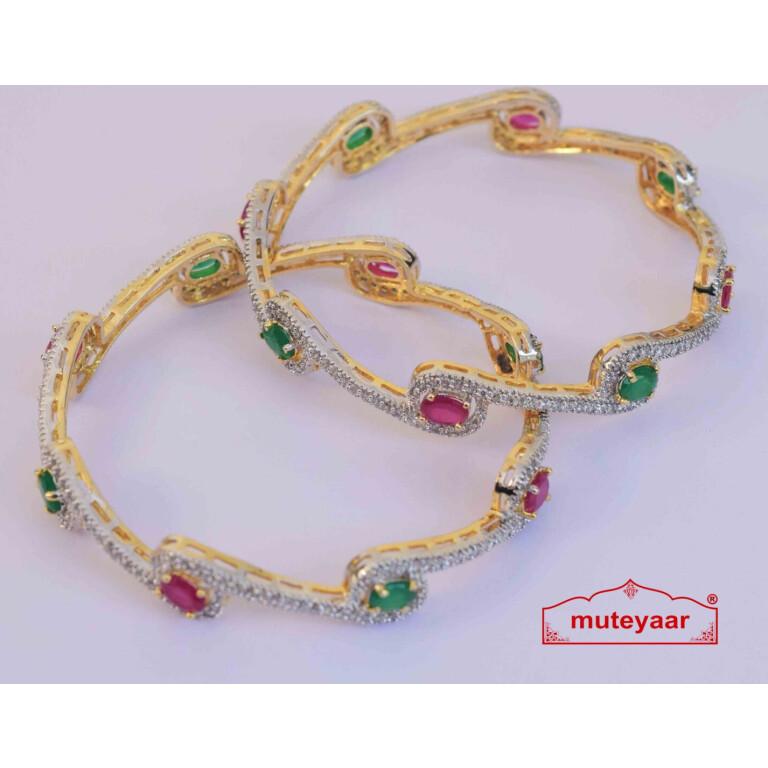 Gold Plated Jadau bangles Set J0101