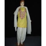 Yellow White Embroidered Patiala Salwar Kameez Suit chunni RM059