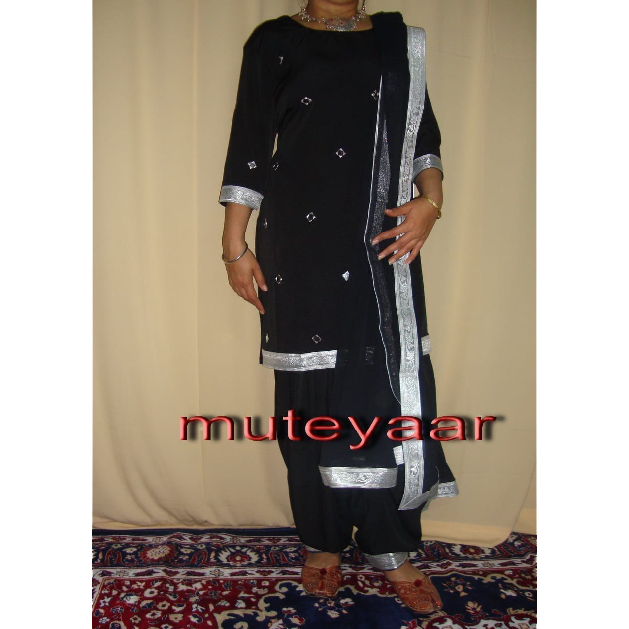 Black mirrors work Girl's Bhangra Costume outfit dance dress 1