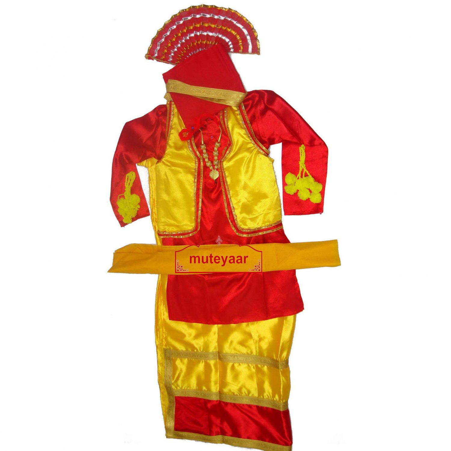 Red / Yellow Bhangra dance costume outfit dress - custom made 1