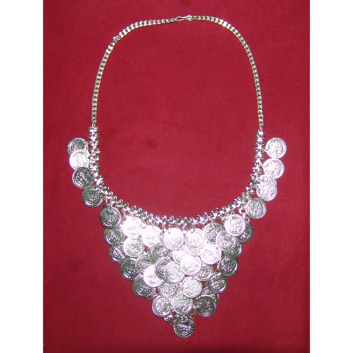 Handicraft Bhangra jewelery Silver colour Neclace + Earrrings 1