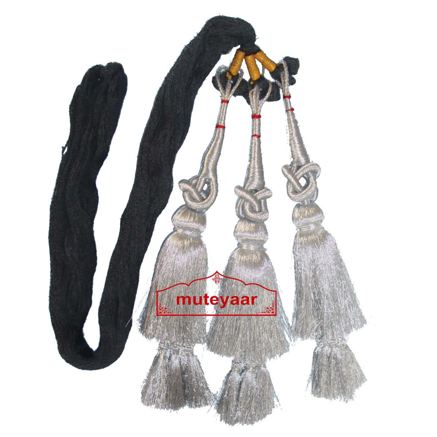Silver Paranda Traditional Punjabi Parandi Tassles Hair Braid 1