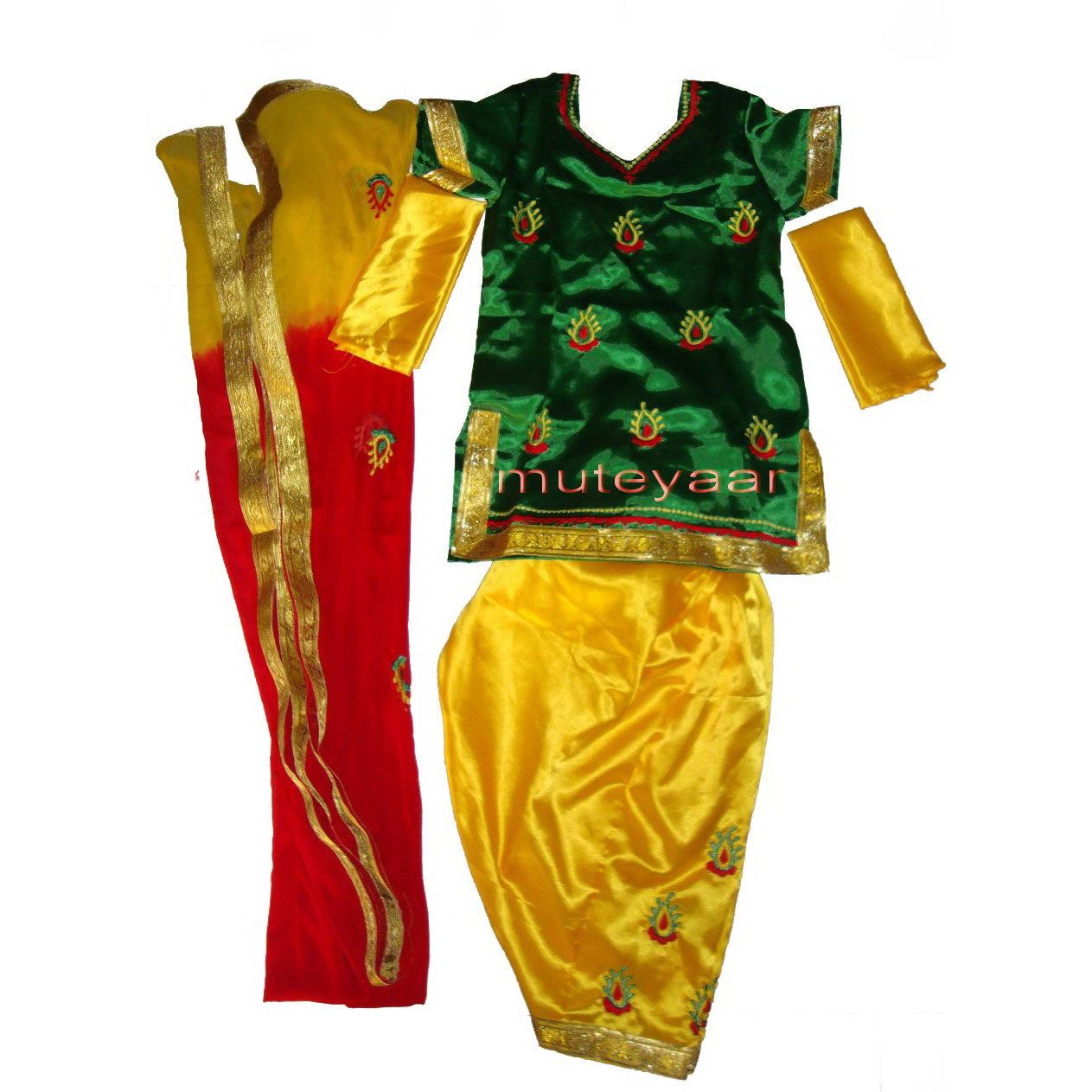 3DG Girl's embroidered Bhangra Costume outfit dance dress !! 1