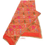 Orange Hand Embroidered Phulkari Dupatta with Gota work D0682