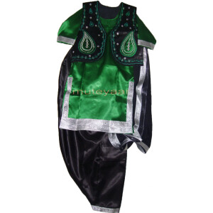 Black Green Girl's Bhangra Costume with separate jacket / vest