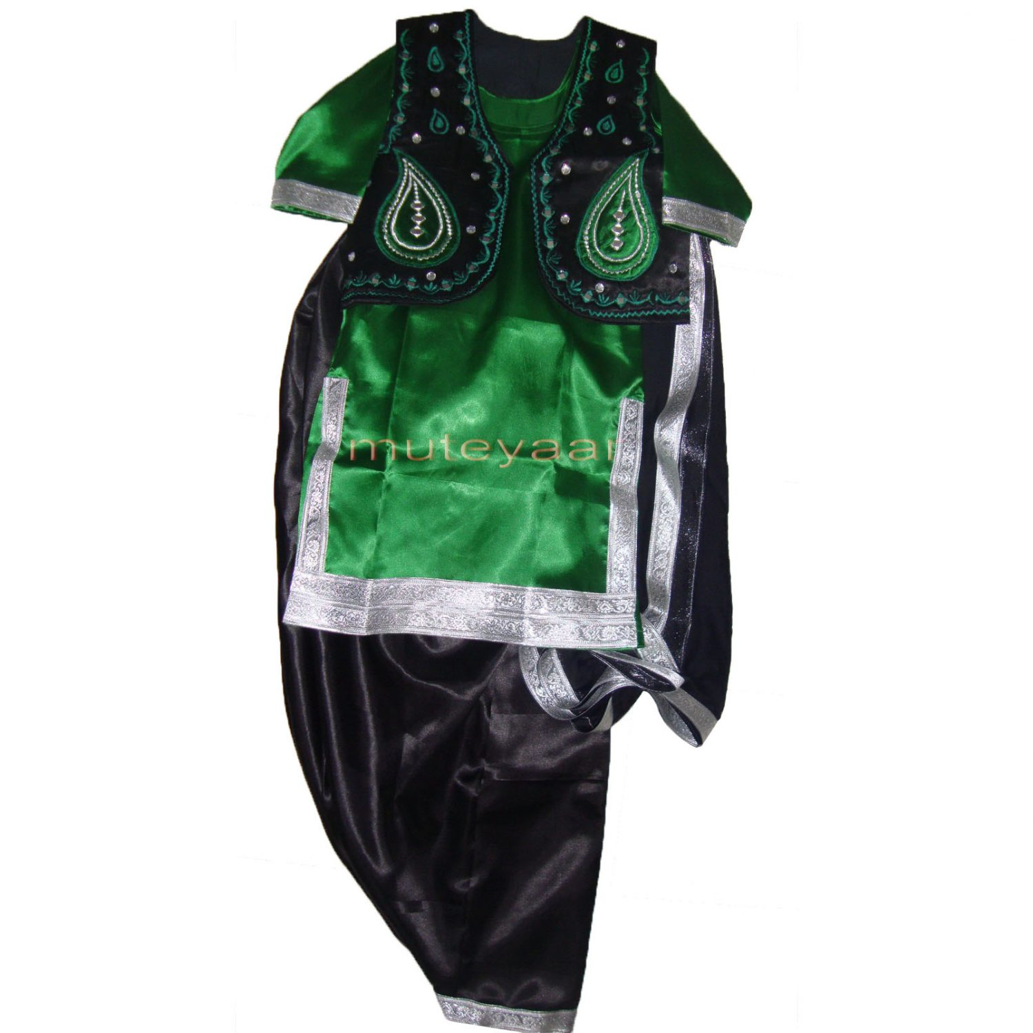 Black Green Girl's Bhangra Costume with separate jacket / vest 1