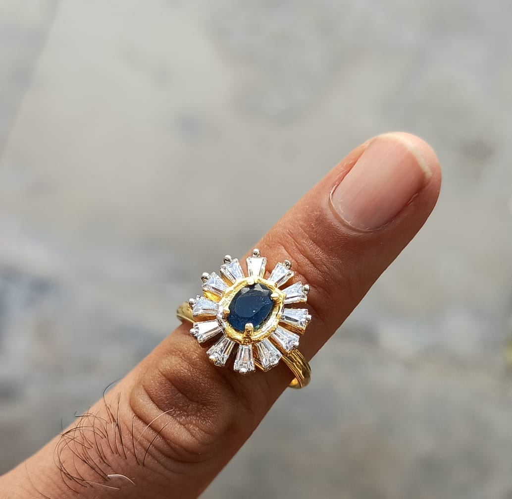 Gold Plated adjustable size ring with Navy Blue Stone J0102 1