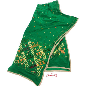 Green Pure Chinon Hand Embroidered Phulkari Dupatta Chunni D0698