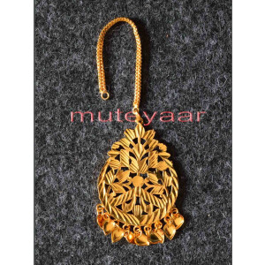 Golden Polished Tikka Maang Teeka jewellery for giddha and bhangra J0111