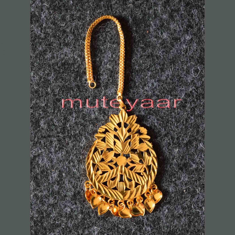 Golden Polished Tikka Maang Teeka jewellery for giddha and bhangra J0111 1