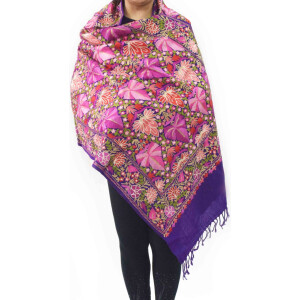 Multicolour Chinar Jaal Pashmeena stole C0472