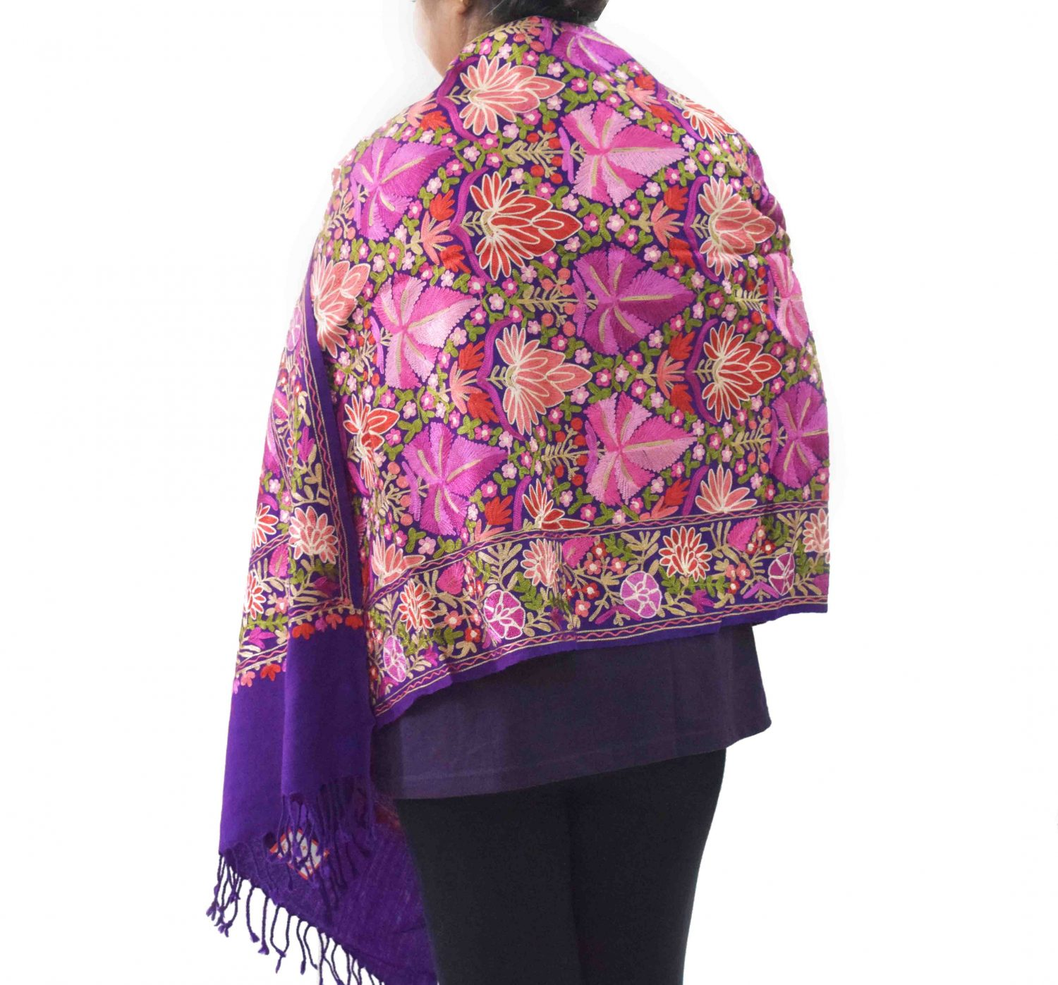 Multicolour Chinar Jaal Pashmeena stole C0472 3