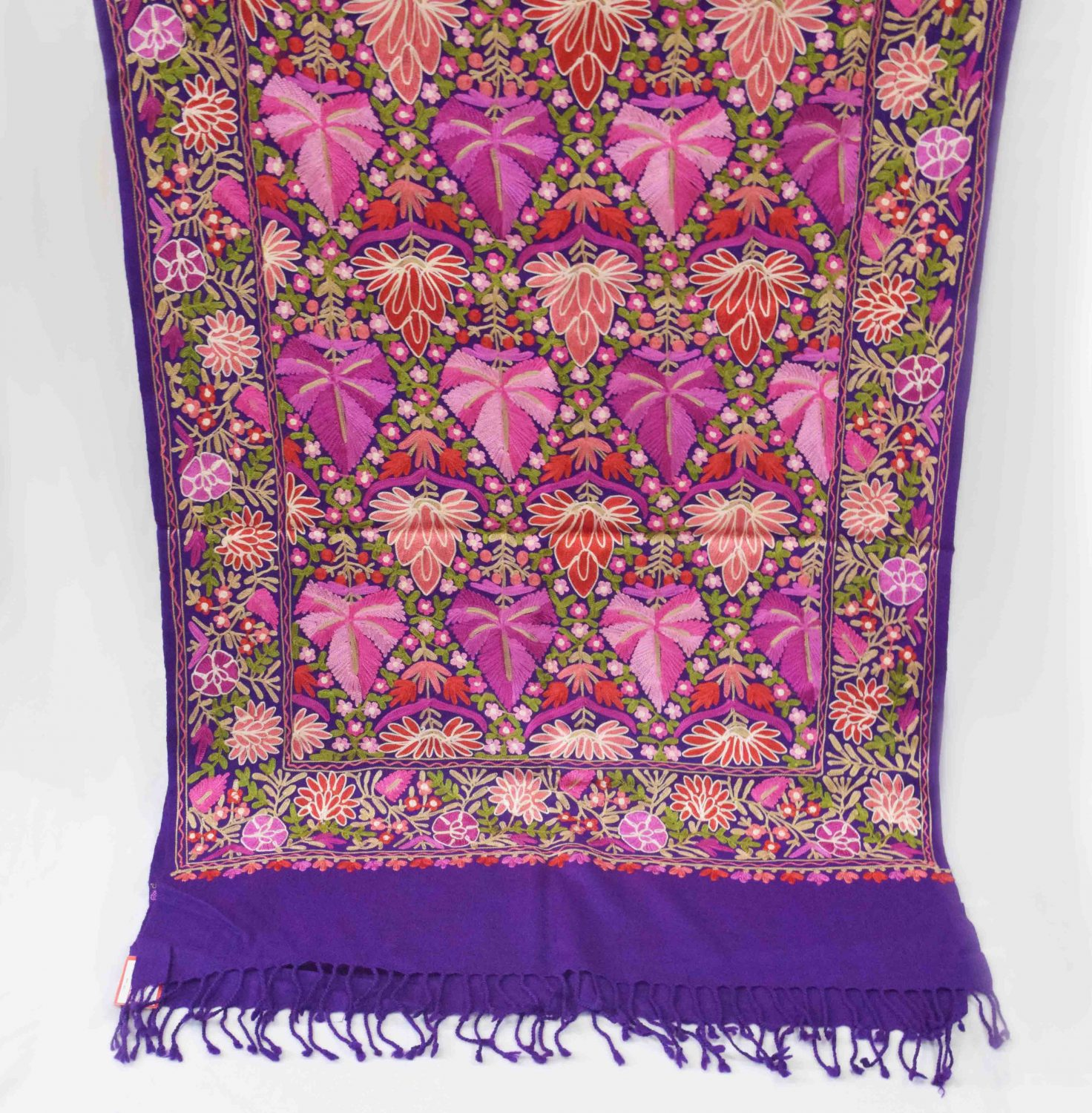 Multicolour Chinar Jaal Pashmeena stole C0472 2