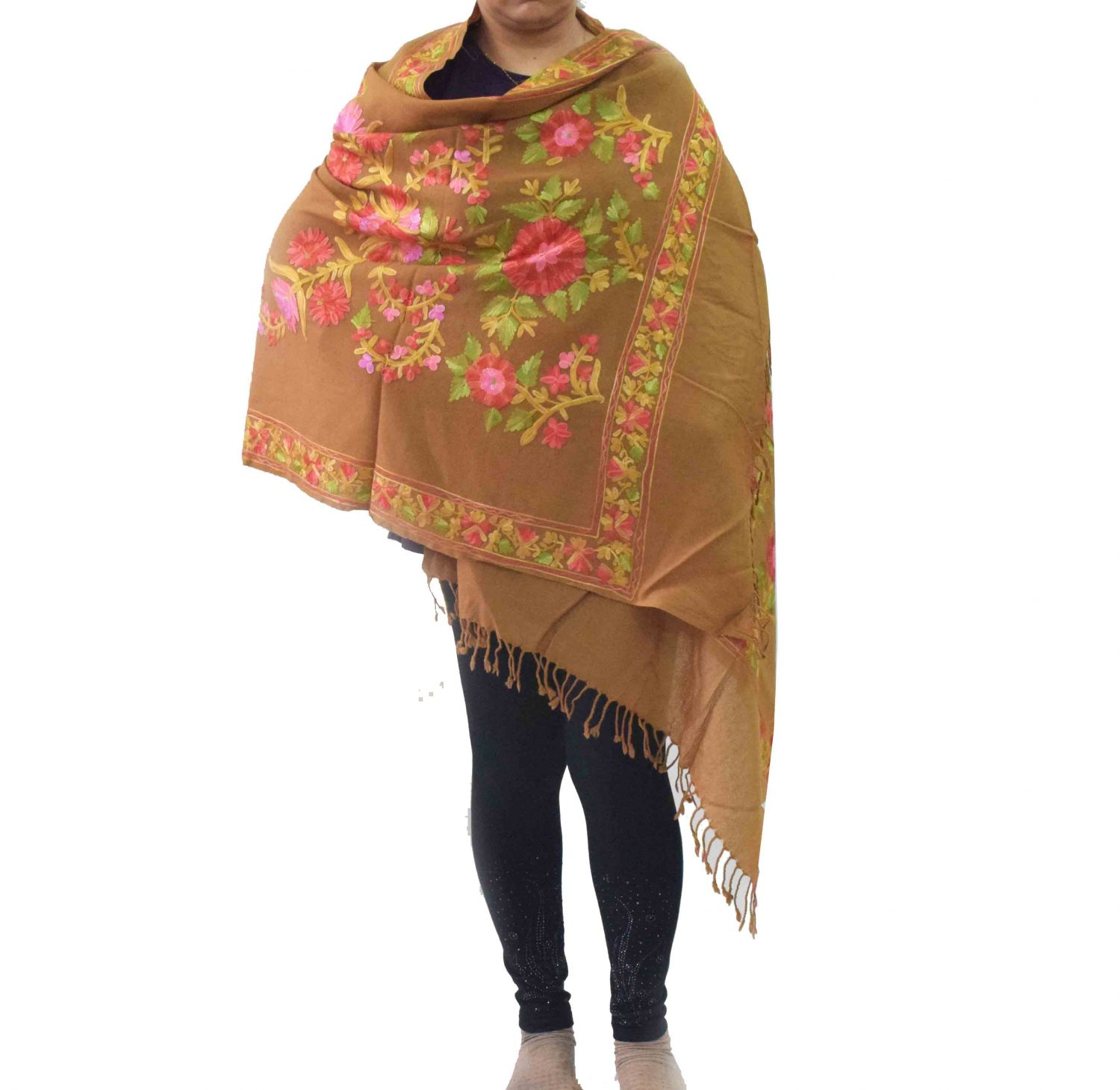 Brown Pashmeena Stole with multicolor thread embroidery C0484 1