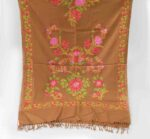 Brown Pashmeena Stole with multicolor thread embroidery C0484