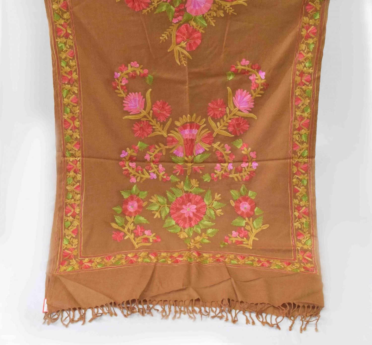 Brown Pashmeena Stole with multicolor thread embroidery C0484 3