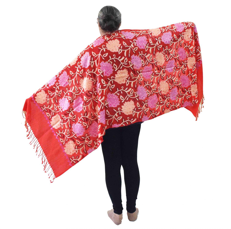Bridal Red Pashmeena Stole Cashmere woollen stoll C0486 1