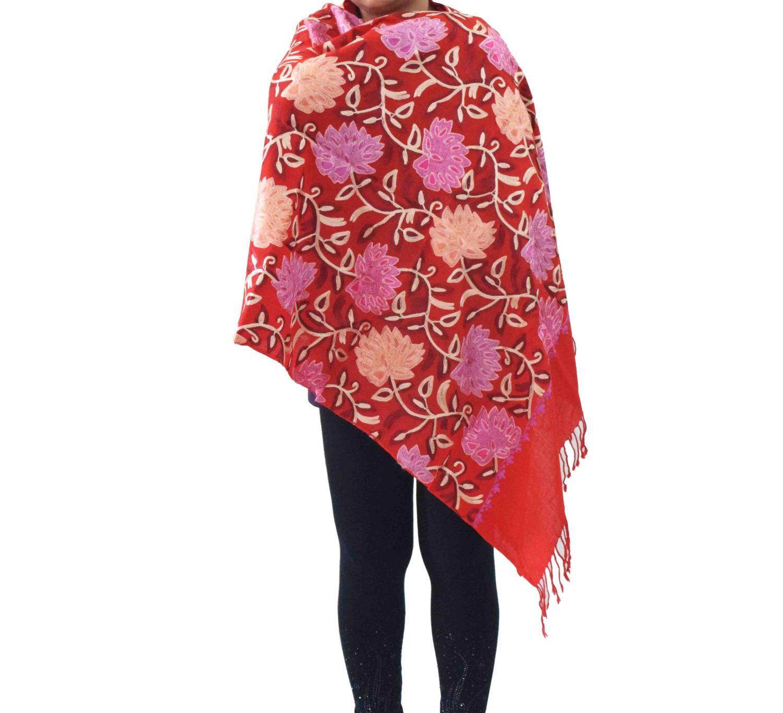 Bridal Red Pashmeena Stole Cashmere woollen stoll C0486 3