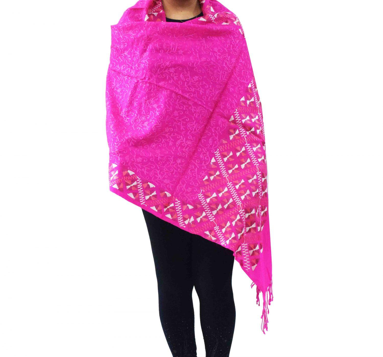PURE Pashmina Kashmiri Bridal Phulkari embroidered woollen stole C0495 3