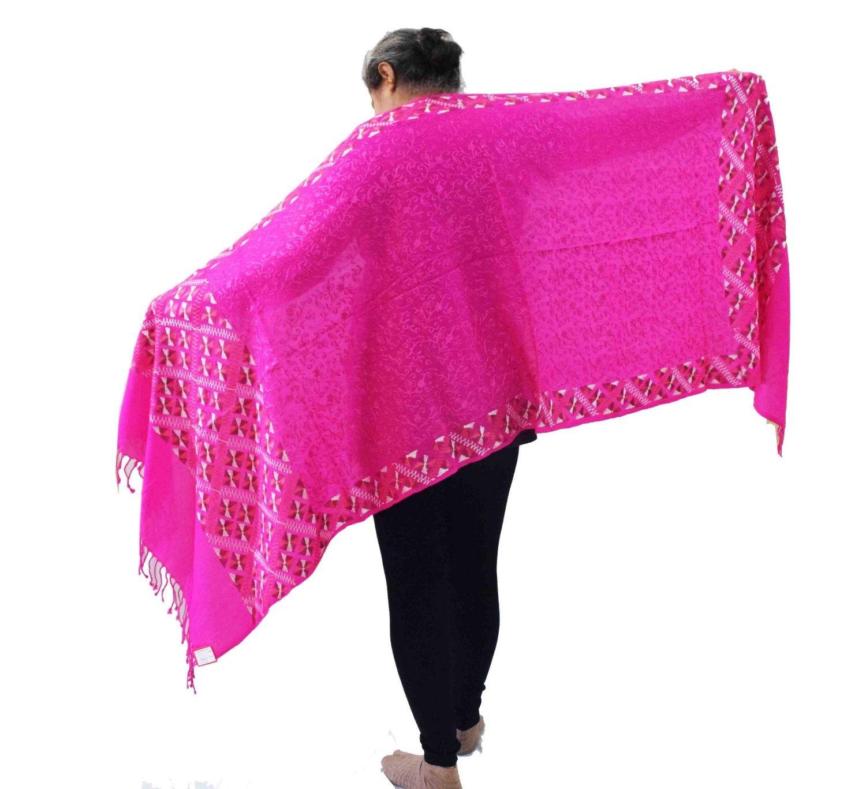 PURE Pashmina Kashmiri Bridal Phulkari embroidered woollen stole C0495 1