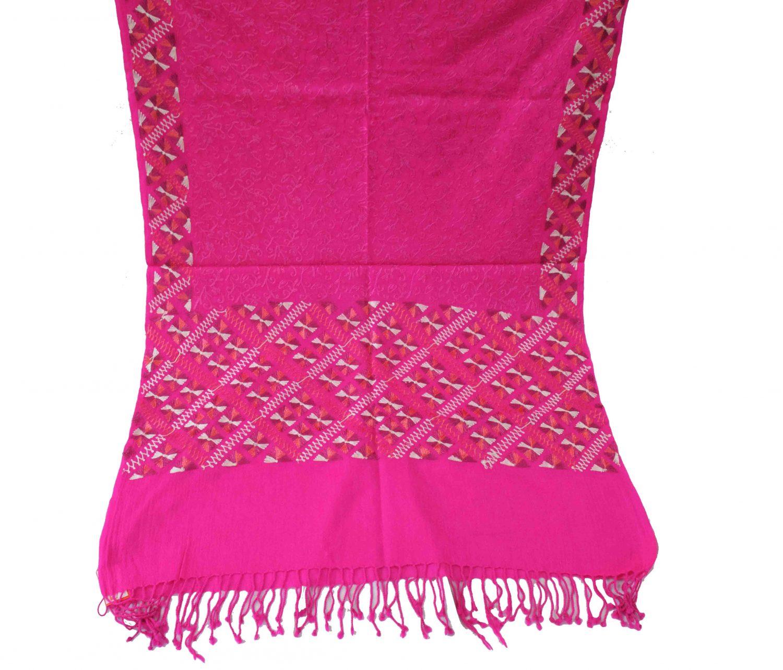 PURE Pashmina Kashmiri Bridal Phulkari embroidered woollen stole C0495 2