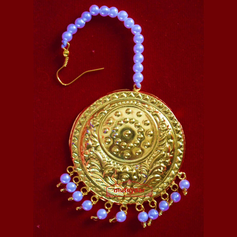 Golden Large Size Tikka Maang Teeka for giddha J0117 1