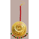 Golden Large Size Tikka Maang Teeka with Maroon Green Beads for giddha and bhangra J0118
