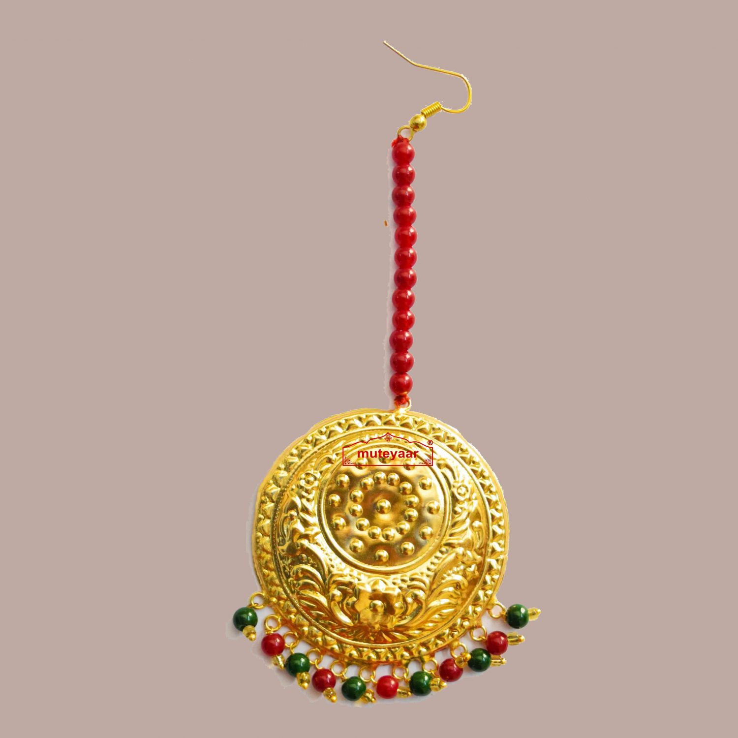 Golden Large Size Tikka Maang Teeka with Maroon Green Beads for giddha and bhangra J0118 1