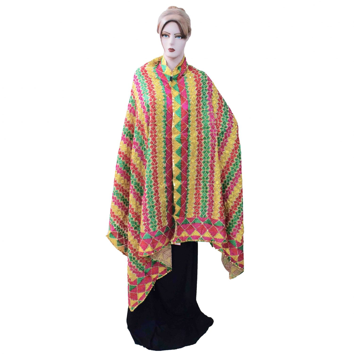 Phulkari Bagh Hand Embroidered Multicolor Cotton Dupatta D0746 1