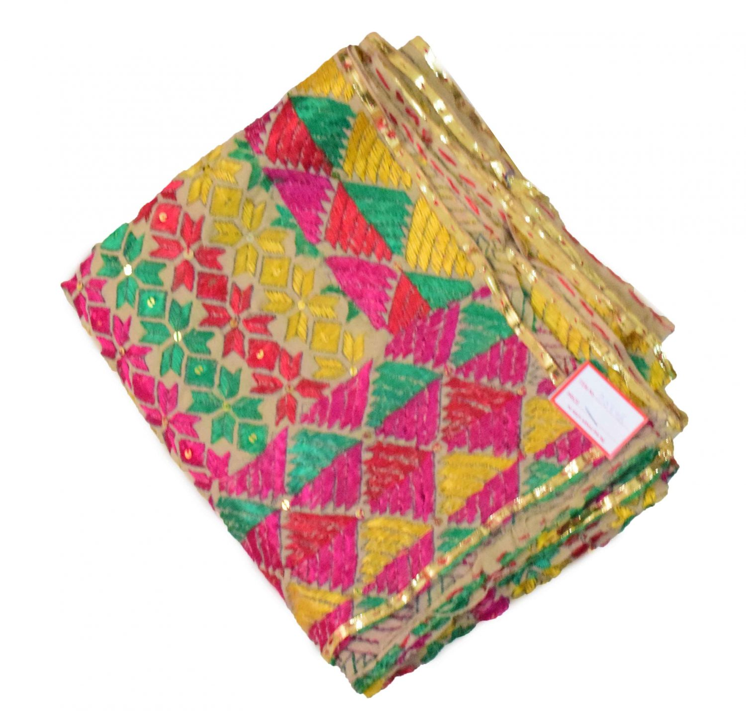 Phulkari Bagh Hand Embroidered Multicolor Cotton Dupatta D0746 2