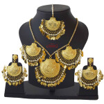 Real Gold Plated Necklace Earrings set with matching Tikka J0120