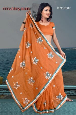 Embroidered party wear beautiful georgette Saree DN2007