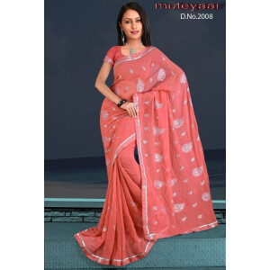 Embroidered party wear beautiful georgette Saree DN2008