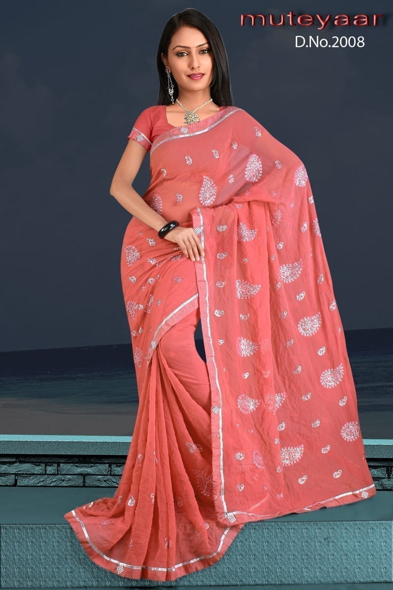 Embroidered party wear beautiful georgette Saree DN2008 1