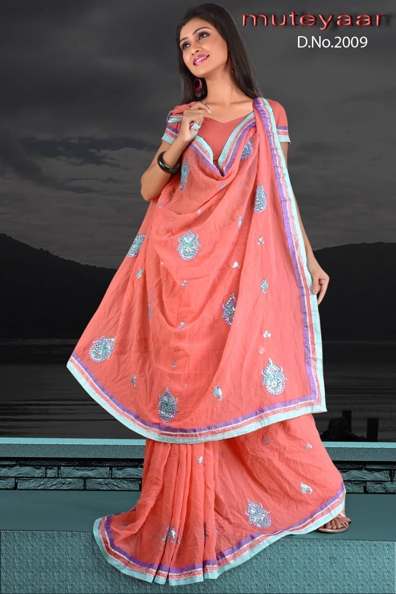 Embroidered party wear beautiful georgette Saree DN2009 1