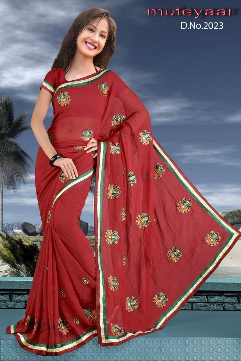 Embroidered party wear beautiful georgette Saree DN2023 1