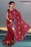 Embroidered party wear beautiful georgette Saree DN2026