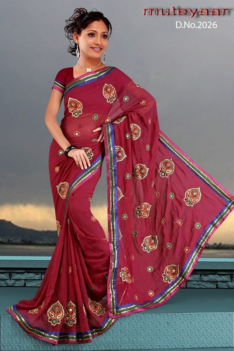 Embroidered party wear beautiful georgette Saree DN2026 1