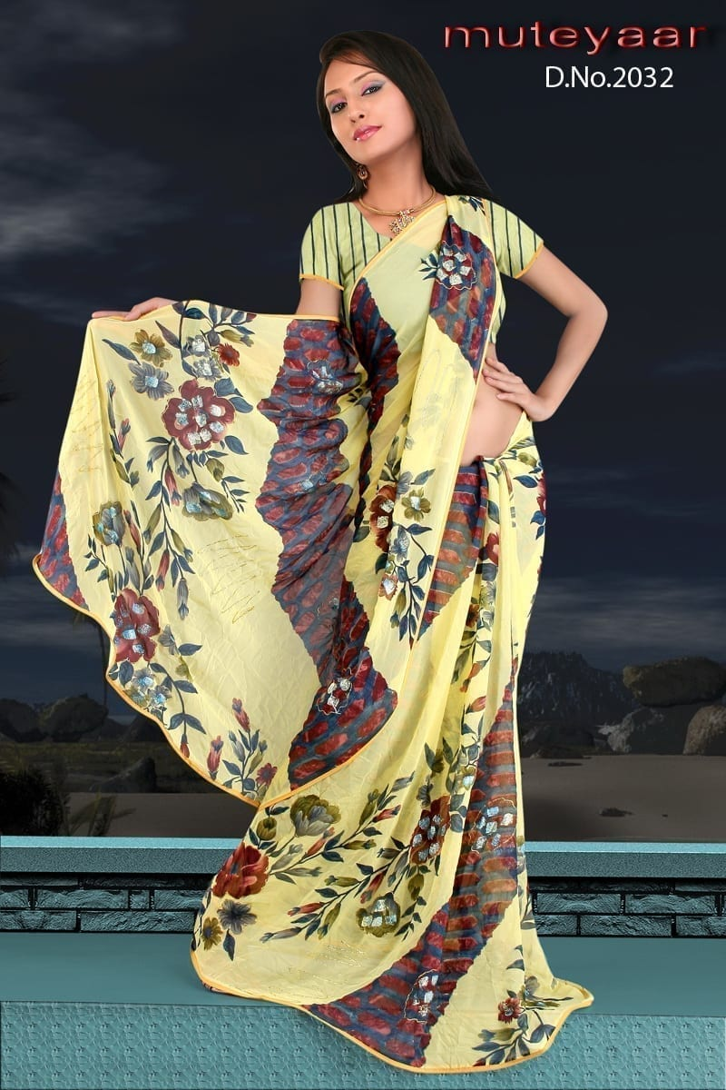 Printed party wear beautiful georgette Saree DN2032 1